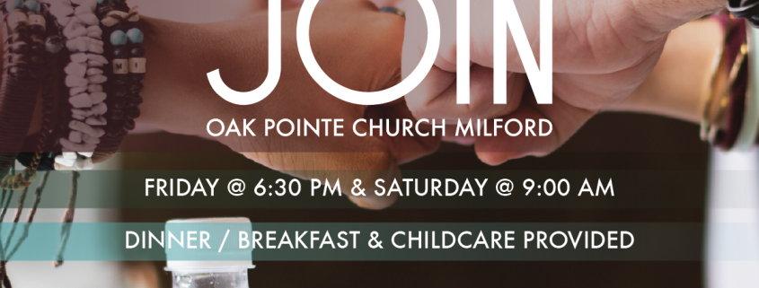 "People fist bumping with the text, ""join OPCM Friday @ 4pm and Saturday @ 9am dinner/breakfast and childcare provided."""