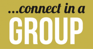 "Yellow background with the text ""connect in a group"""