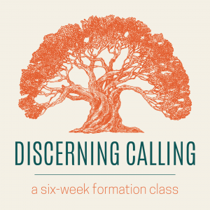 "A drawing of a large tree with the text, ""discerning calling, a six-week formation class."""