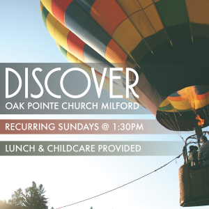 "A picture of a hot air balloon with the text, ""discover OPCM recurring Sundays @ 1:30pm lunch and childcare provided."""