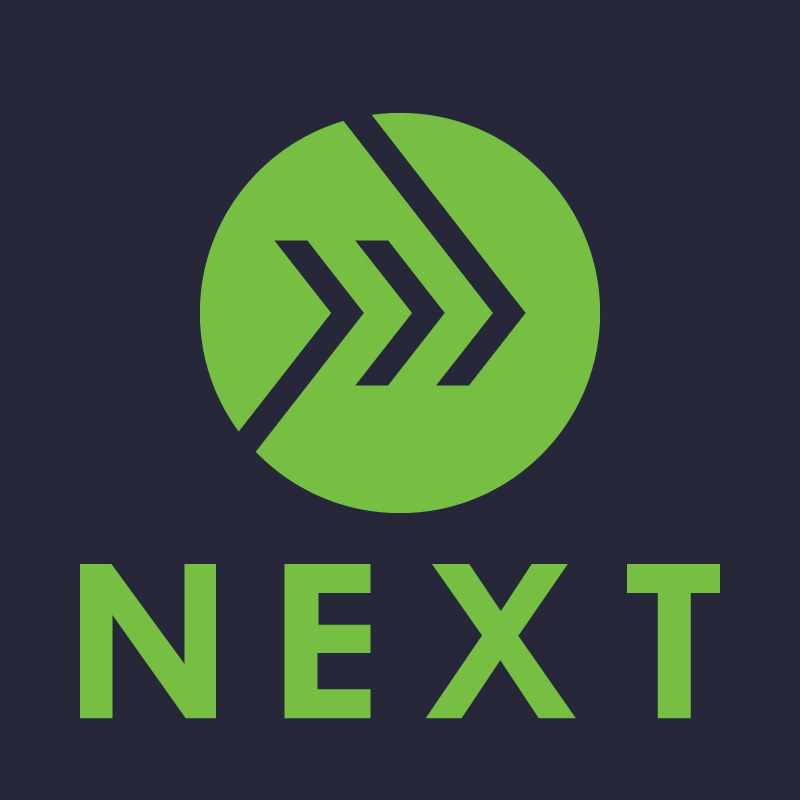 "Green logo with the word ""next"" under it"