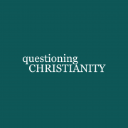 """A blue background with the text, """"questioning Christianity."""""""