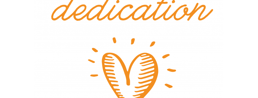 "A white background with a cartoon orange heart and the text, ""child dedication."""