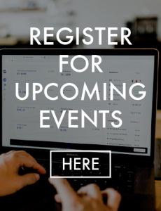 """A laptop overlaid with the text """"Register for upcoming events"""""""