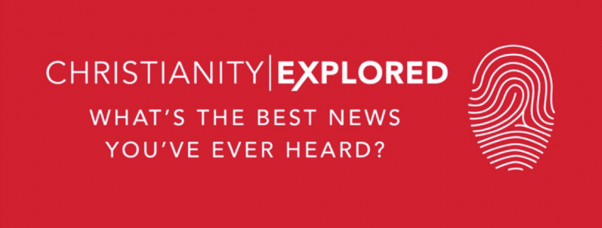 "Red background with white text reading ""Christianity Explored - what's the best news you've ever heard?"""