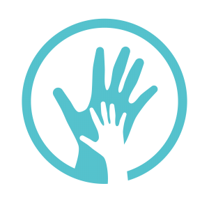 The Access icon: a circle with a large hand and the outline of a smaller hand overlaying it.