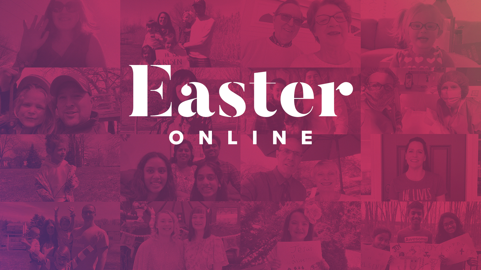 "A pink background with the text ""Easter online""."