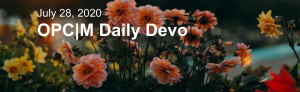 """Pink flowers with the text, """"July 28, 2020. OPCM Daily Devo""""."""