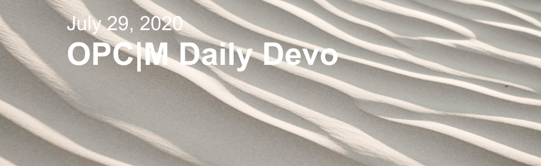 "Sand with the text, ""july 29, 2020. OPCM Daily Devo""."