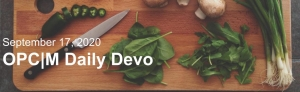 """A cutting board with a knife and vegetables with the text, """"September 17, 2020. OPCM Daily Devo."""""""