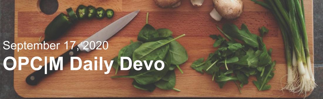 "A cutting board with a knife and vegetables with the text, ""September 17, 2020. OPCM Daily Devo."""