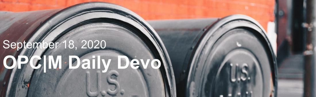 """Two mailboxes with the text, """"September 18, 2020. OPCM Daily Devo."""""""