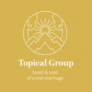 "A yellow background with white line work showing a sun rising over a mountain, with the text, ""Topical Group Heart and Soul of a Real Marriage.""."