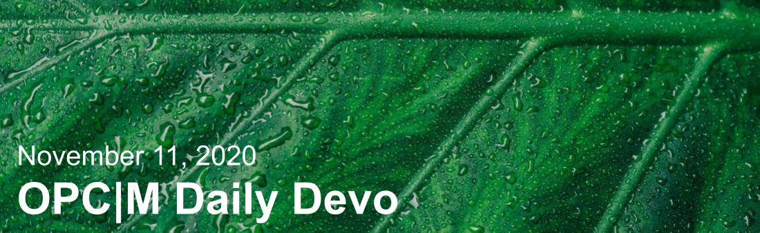 """A leaf with water on it and the text, """"November 11, 2020. OPCM daily devo."""""""