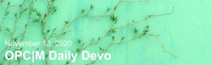 """A green wall with a vine growing up it and the text, """"November 13, 2020. OPCM daily devo."""""""