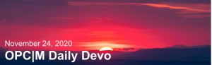 """A sunset with the text, """"November 24, 2020. OPCM daily devo."""""""