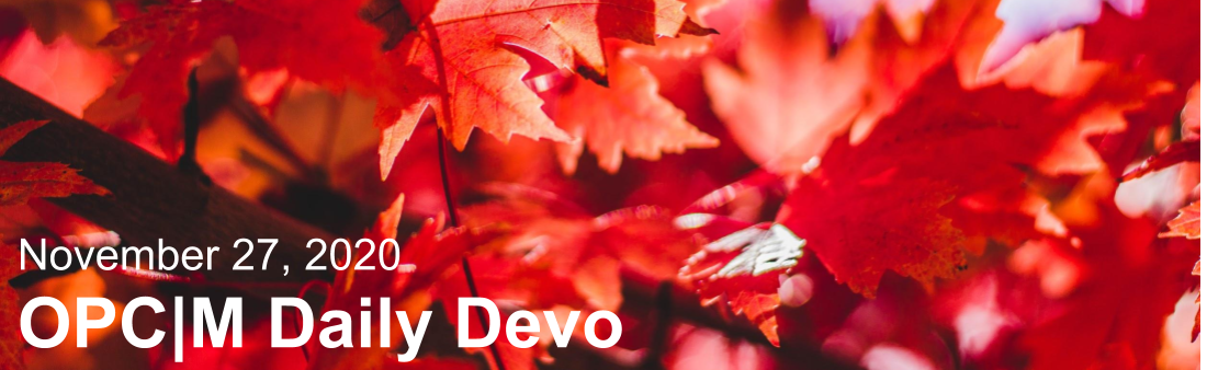 "Red leaves with the text, ""November 27, 2020. OPCM daily devo."""