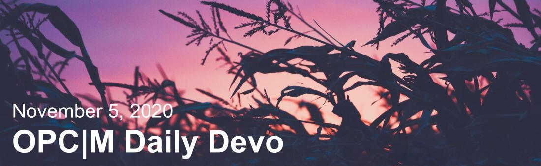 "Blacked out grass with a purple sunset and the text, ""November 5, 2020. OPCM daily devo."""