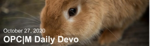 """A brown bunny with the text, """"October 27, 2020. OPCM daily devo."""""""