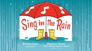 "Cartoon umbrella and boots with the text, ""singing in the rain."""