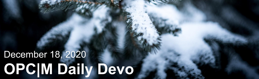 """A pine tree with snow on it and the text, """"December 18, 2020. OPCM daily devo."""""""