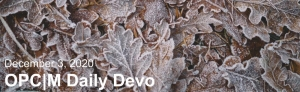 "Brown leaves with frost and the text, ""December 3, 2020. OPCM daily devo."""