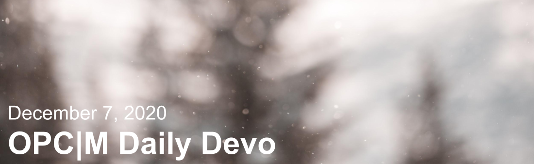 "Out of focus pine trees with the text, ""December 7, 2020. OPCM daily devo."""