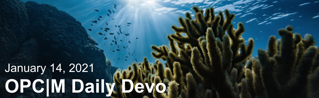 """An underwater coral reef with the text, """"January 14, 2021. OPCM daily devo."""""""