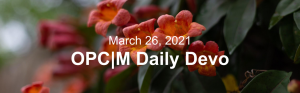 """Orange flowers with the text, """"March 26, 2021. OPCM daily devo."""""""