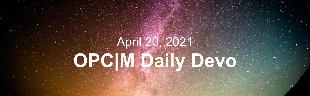 """A orange, purple, and pink starry sky with the text, """"April 20, 2021."""""""