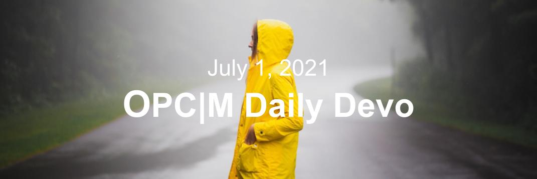 July 1st devo image, a girl in a yellow raincoat.