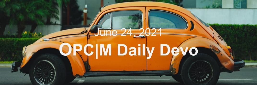 June 24 devo image, an orange car.