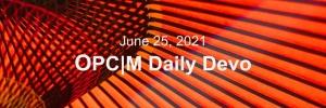 June 25th devo image, the underside of an orange umbrella.