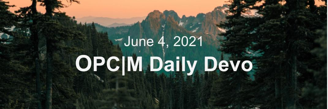 June 4th devo image, pine trees with mountains in the background.
