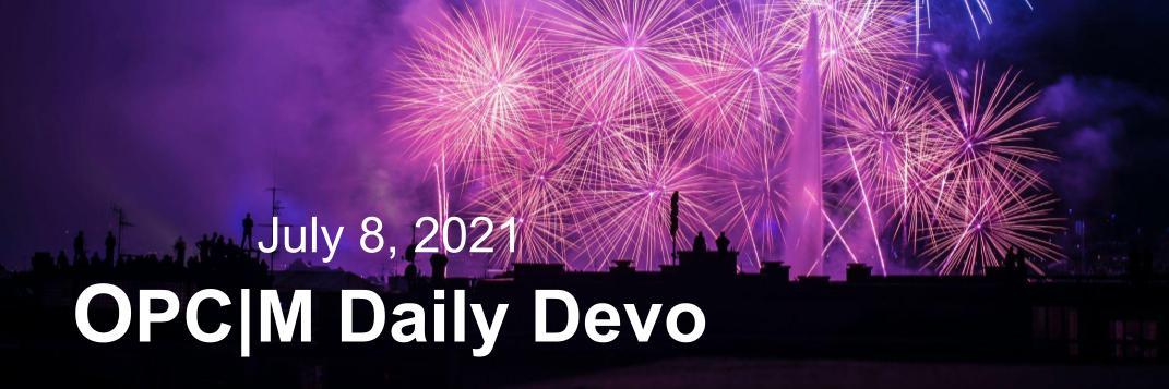 July 8th devo image, people watching purple fireworks.