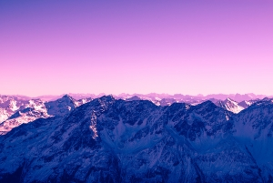 July 5th devo image, mountains against a purple sunset.
