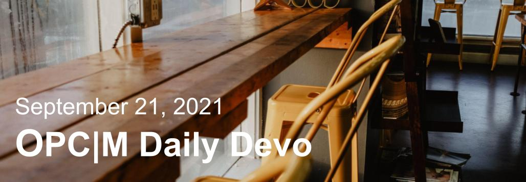 September 21 devo image, a wooden table with metal chairs.