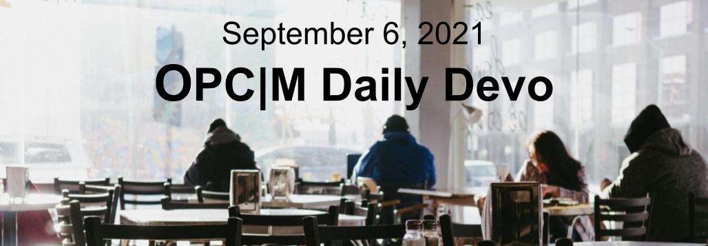 September 6th devo image, four people in a coffee shop.